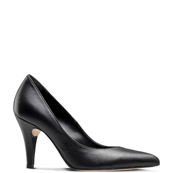 Escarpin pointu en cuir noir bata, Noir, 724-6607 - 13