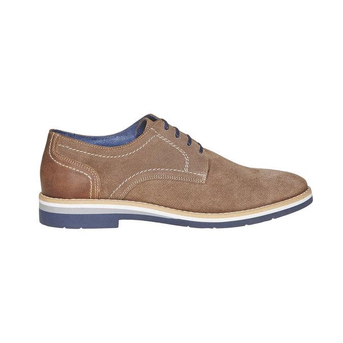 Chaussure lacée en cuir à semelle épaisse bata, Gris, 823-2258 - 15