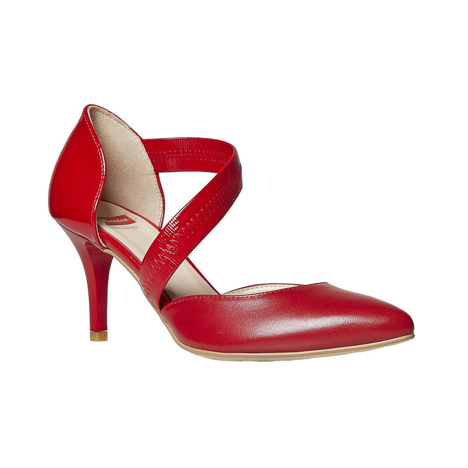 Escarpin en cuir avec bride bata, Rouge, 724-5904 - 13