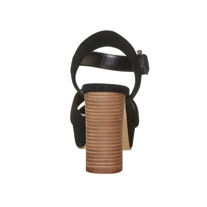 Sandale noire à talon effet bois insolia, Noir, 763-6502 - 17