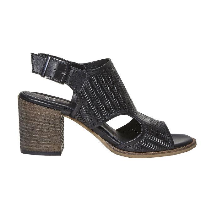 Sandale perforée en cuir bata, Noir, 764-6515 - 15