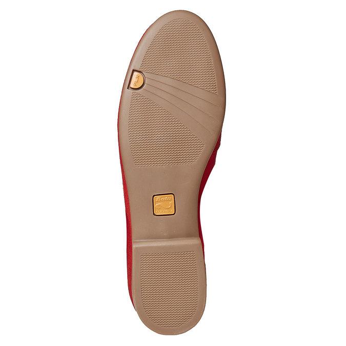 Mocassin à lacet en cuir pour femme flexible, Rouge, 516-5276 - 26