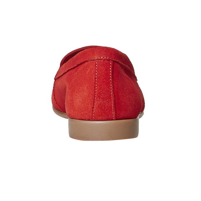 Mocassin à lacet en cuir pour femme flexible, Rouge, 516-5276 - 17