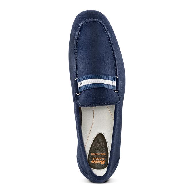 Mocassin en cuir bleu flexible, Violet, 853-9172 - 17