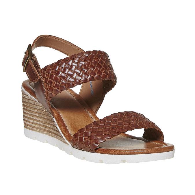 Sandale femme à plateforme effet bois bata, Brun, 764-3586 - 13