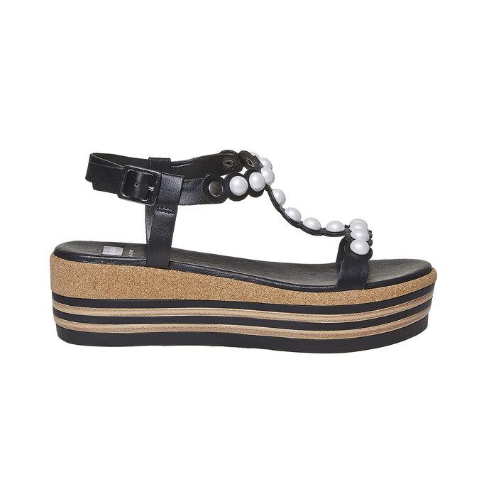 Sandale à plateforme rayée bata, Noir, 661-6237 - 15