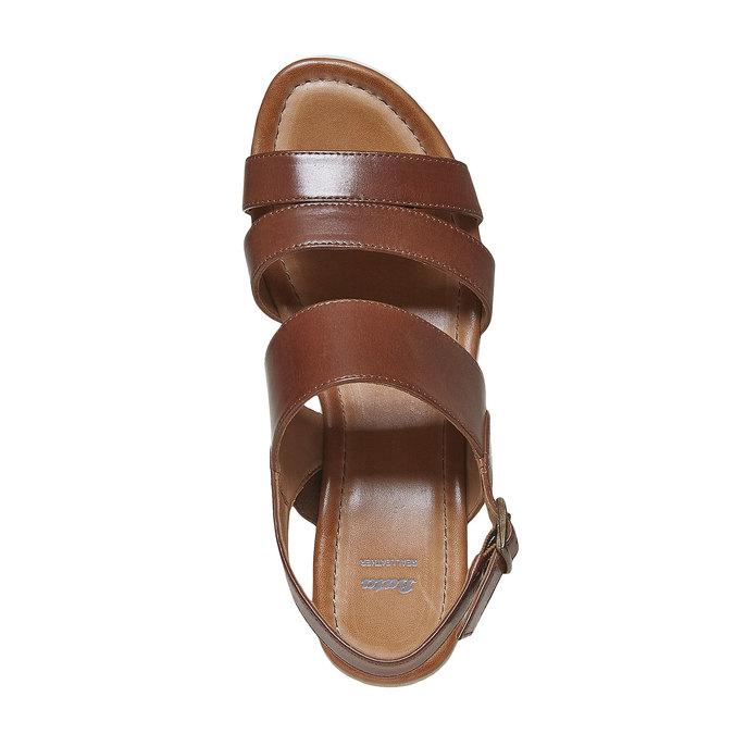 Sandale en cuir à plateforme bata, Brun, 764-3585 - 19