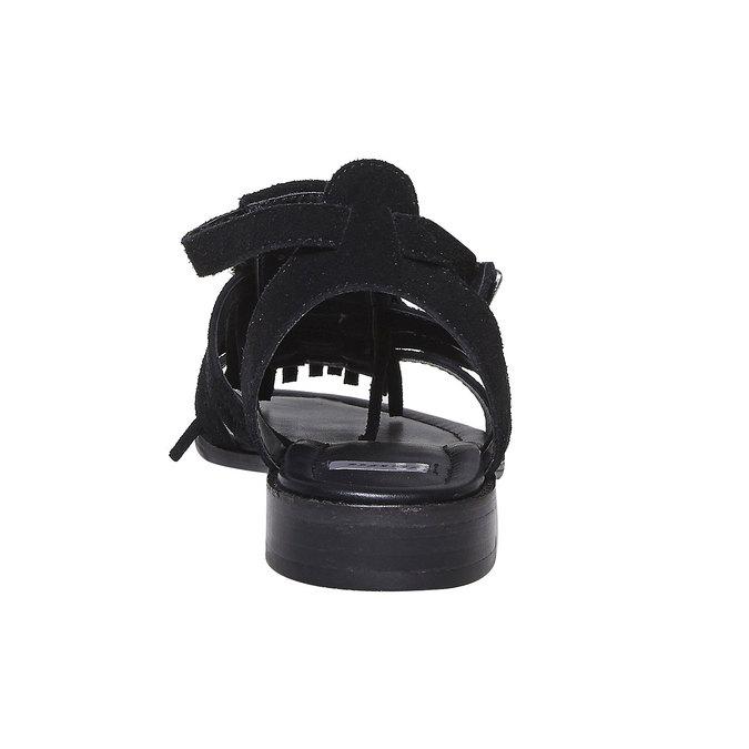 Sandale en cuir à franges pour femme bata, Noir, 563-6442 - 17
