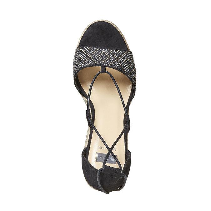 Sandale femme à plateforme effet naturel bata, Noir, 769-6573 - 19