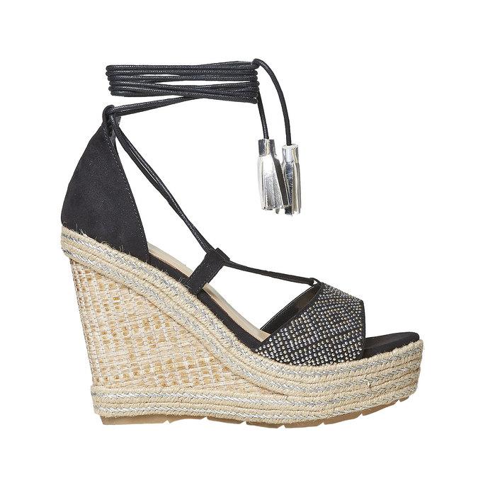 Sandale femme à plateforme effet naturel bata, Noir, 769-6573 - 15