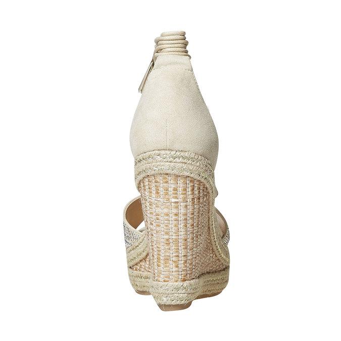 Sandale crème à plateforme effet naturel bata, Jaune, 769-8573 - 17