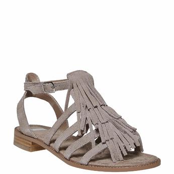 Sandale à franges en cuir bata, Gris, 563-2442 - 13