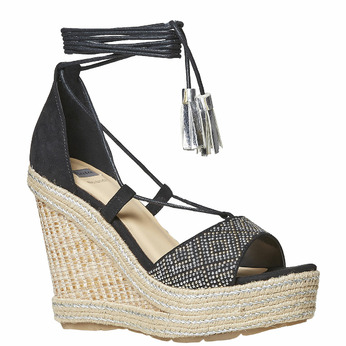 Sandale femme à plateforme effet naturel bata, Noir, 769-6573 - 13