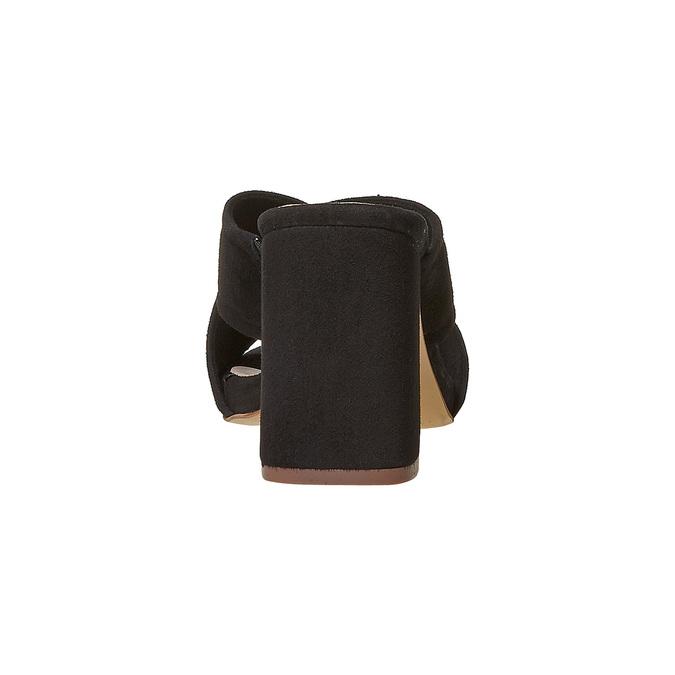Mule en cuir à talon stable bata, Noir, 763-6579 - 17