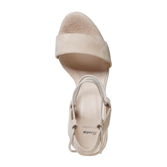 Sandale lacée à talon en cuir bata, Jaune, 763-8581 - 19