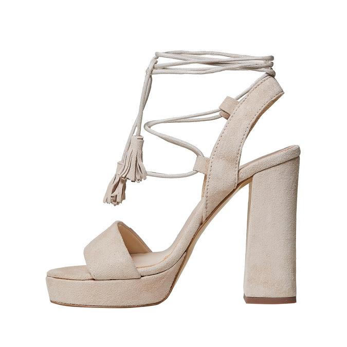 Sandale lacée à talon en cuir bata, Jaune, 763-8581 - 26