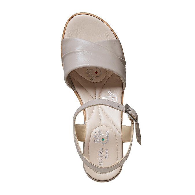 Sandale femme à talon effet naturel bata-touch-me, Gris, 664-2231 - 19