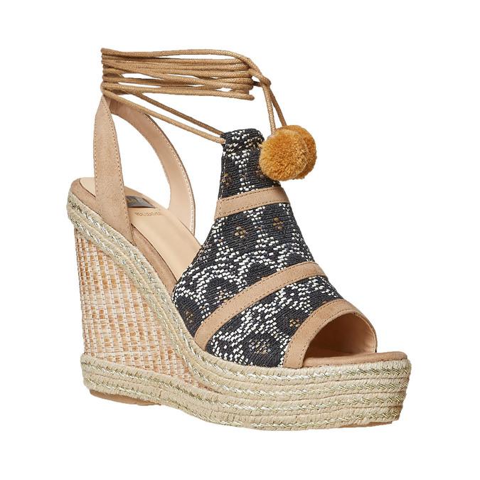 Sandale compensée femme à lacet bata, Gris, 769-2574 - 13