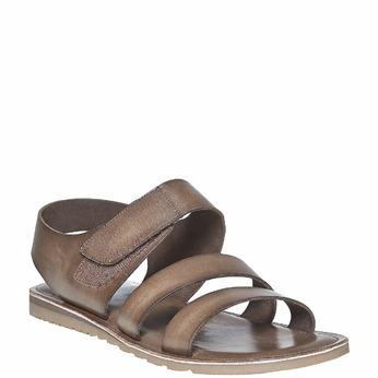 Sandale à scratch en cuir bata, Brun, 864-4260 - 13