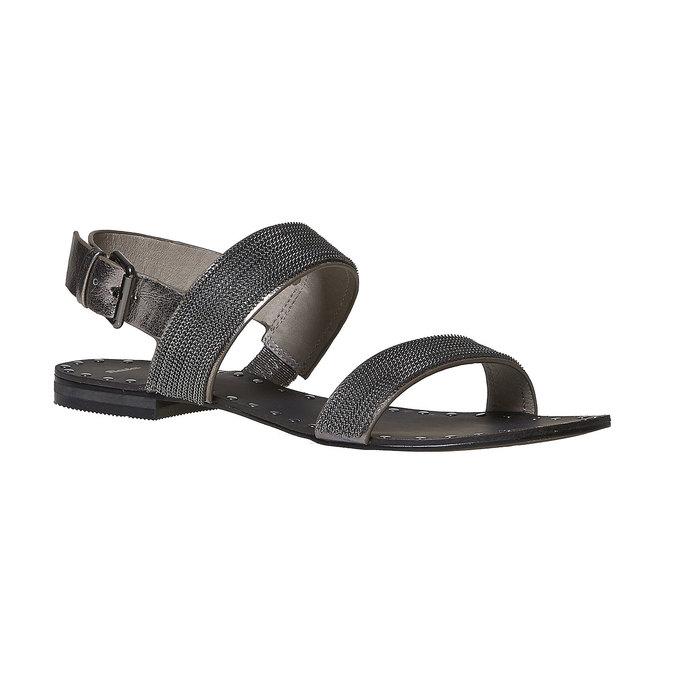 Sandale femme avec applique décorative bata, Noir, 561-6501 - 13