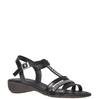 Sandale en cuir femme avec petites pierres sundrops, Noir, 564-6402 - 13