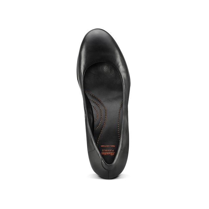 Escarpin en cuir noir flexible, Noir, 624-6393 - 15