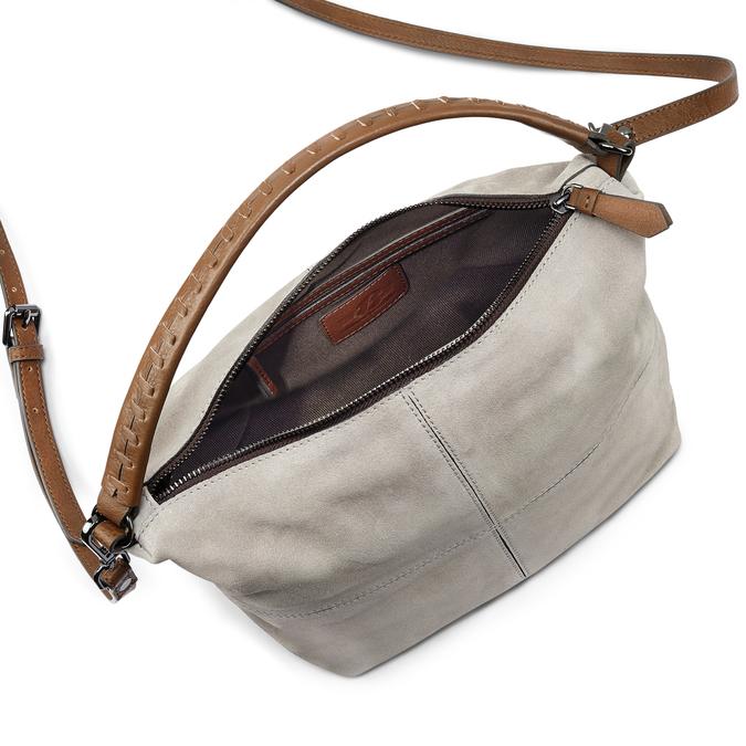 Sac à main en cuir dans le style Hobo bata, Gris, 963-2130 - 16