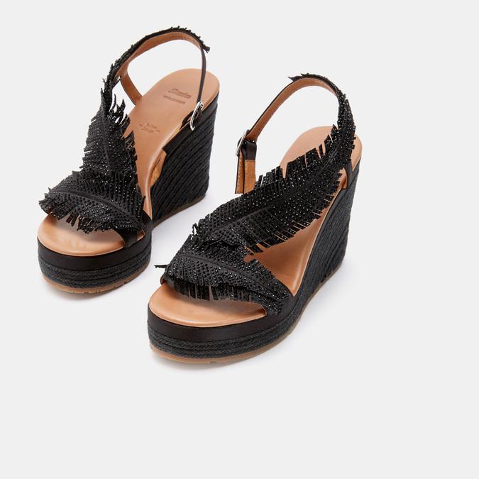 Sandales compensées bata, Noir, 769-6777 - 17