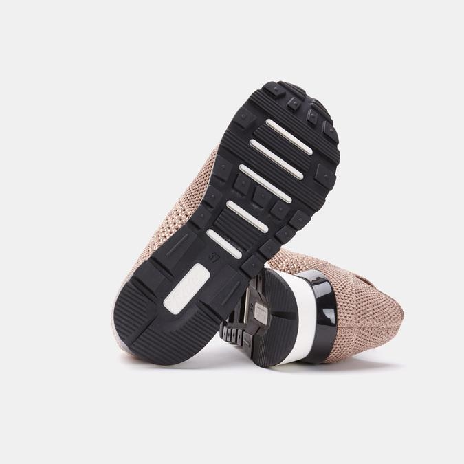 Chaussures slip-on à empeigne tricotée avec paillettes bata, Rose, 539-5143 - 19