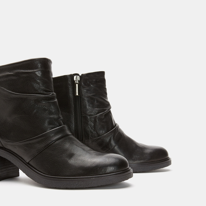 Bottines en cuir de type tronchetto sur talon large bata, Noir, 794-6753 - 19