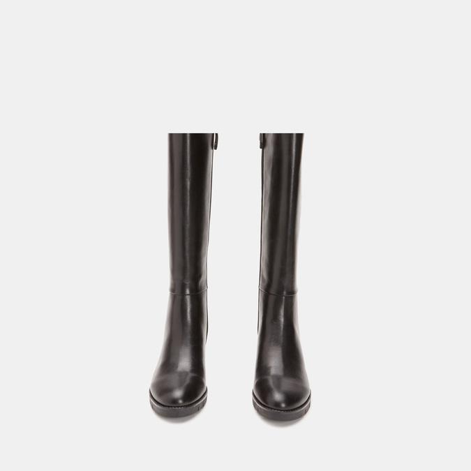Bottes en cuir sur talon large flexible, Noir, 794-6689 - 19