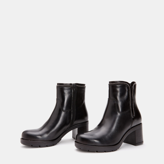Bottines en cuir de type tronchetto sur talon large bata, Noir, 794-6751 - 16