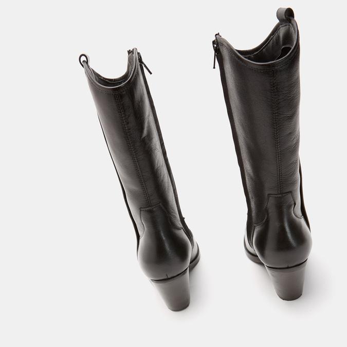 Bottes de style Texas en cuir véritable bata, Noir, 794-6585 - 19