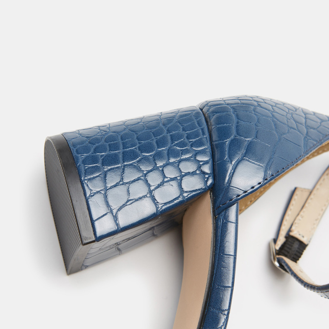 Sandales à talon large bata, Bleu, 761-9863 - 26