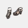 Sandales à talon large bata, Noir, 761-6850 - 16