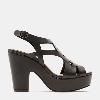 Sandales à talon large bata, Noir, 761-6850 - 13