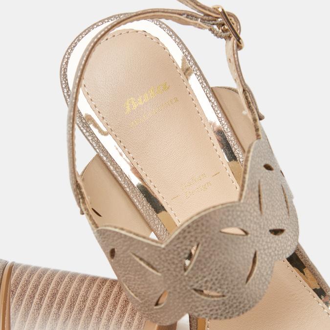 Sandales à talon large bata, bronze, 761-8860 - 17