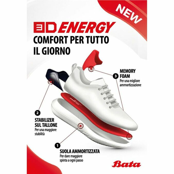 Baskets Slip-on Bata 3D Energy bata-3d-energy, Blanc, 549-1705 - 18
