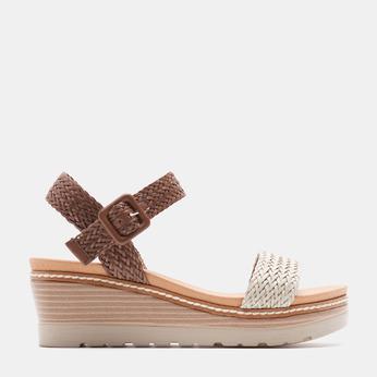 Sandales compensées bata, Blanc, 761-1947 - 13