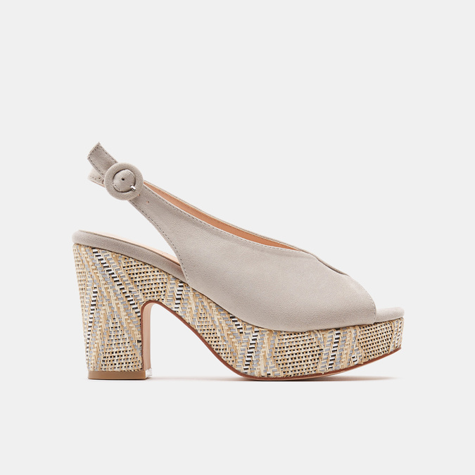Sandales à talon large et à plateforme bata, Gris, 769-2865 - 13