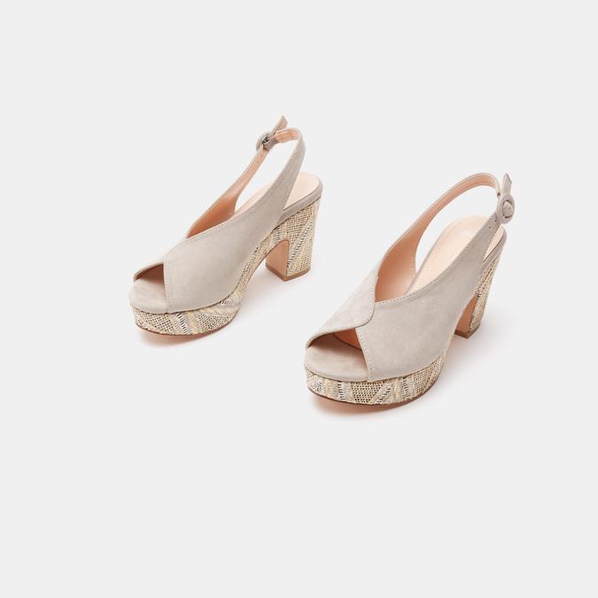 Sandales à talon large et à plateforme bata, Gris, 769-2865 - 16