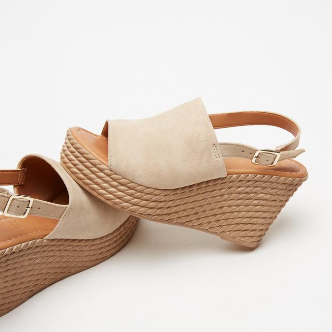 Sandales à plateforme bata, Beige, 763-8125 - 17