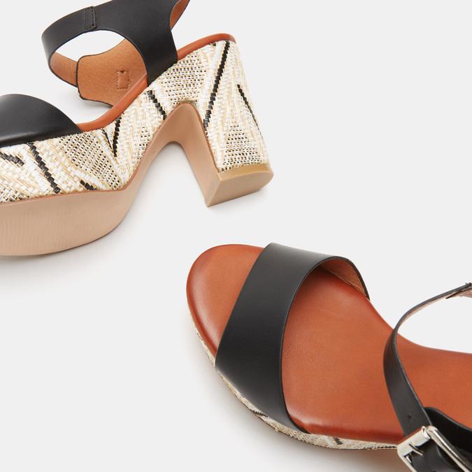 Sandales à talon large et à plateforme bata, Noir, 761-6866 - 19