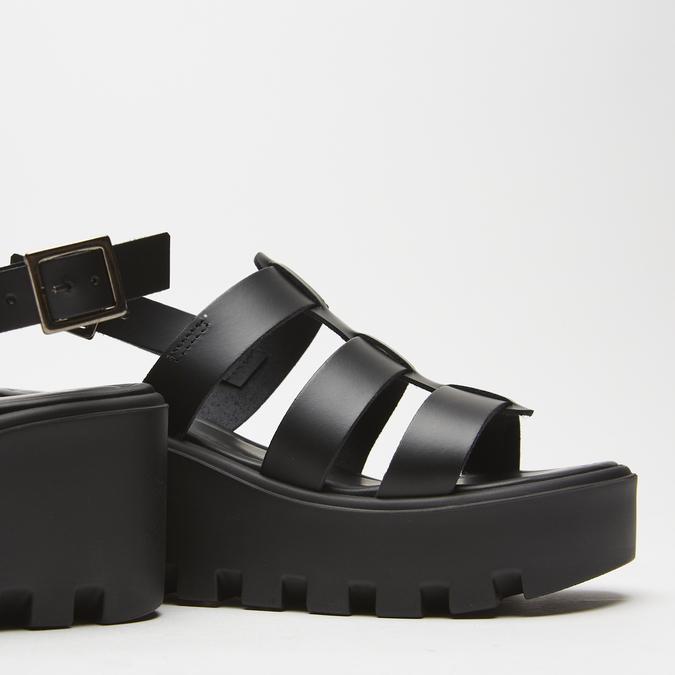 Sandales à plateforme bata, Noir, 764-6130 - 26