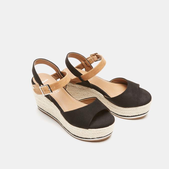 Sandales compensées bata, Noir, 769-6912 - 26