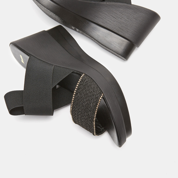 Sandales compensées bata, Noir, 769-6924 - 16