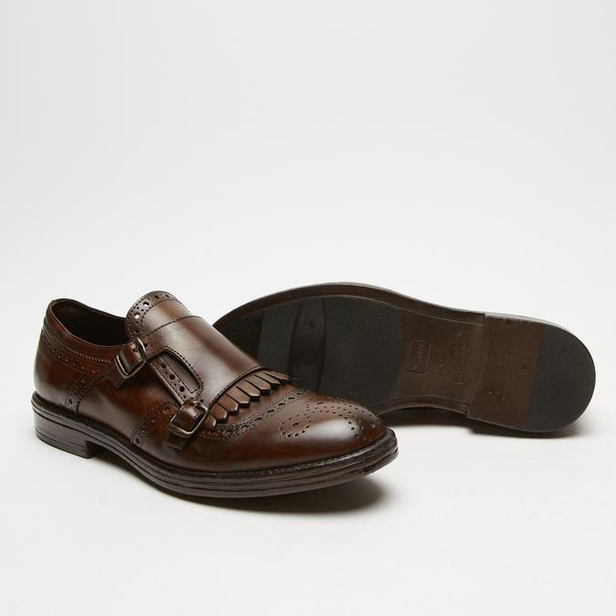 chaussures basses en cuir à boucle bata, Brun, 814-4133 - 19