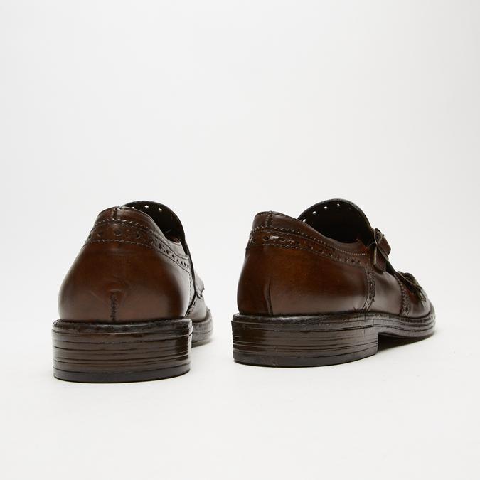 chaussures basses en cuir à boucle bata, Brun, 814-4133 - 15