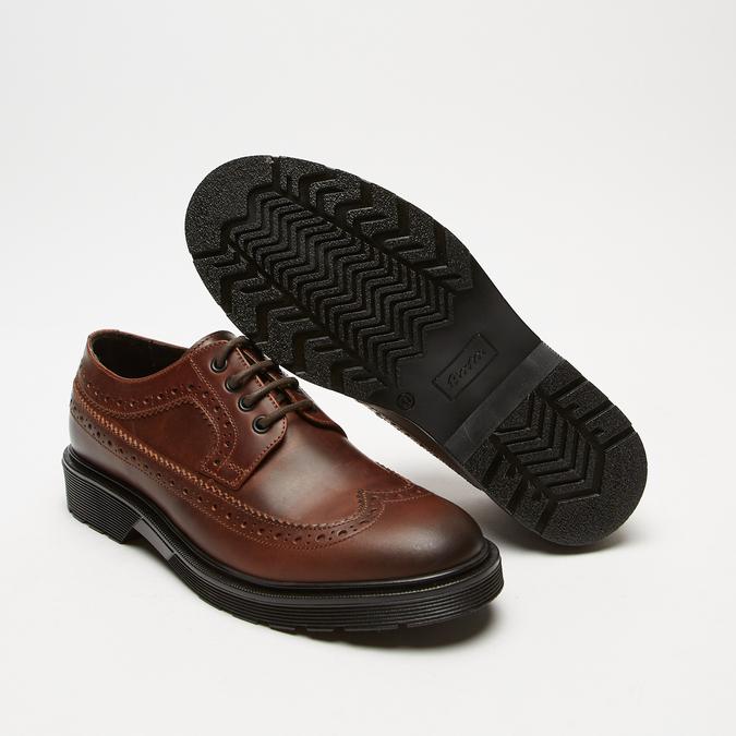 chaussures basses brogue en cuir bata, Brun, 824-4119 - 19
