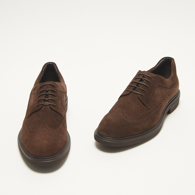 chaussures basses brogue en suède bata, Brun, 823-4129 - 26